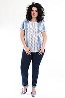Блузка белая с голубой вышивкой, хлопок, р-ры 52-58