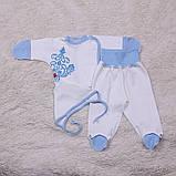 """Трикотажный набор для новорожденных, """"Monogram"""" голубой, фото 3"""