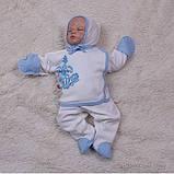 """Трикотажный набор для новорожденных, """"Monogram"""" голубой, фото 2"""