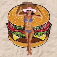 Подстилка для пляжа  круглая Гамбургер Коврик пляжный Круглое пляжное полотенце-подстилка 143 см