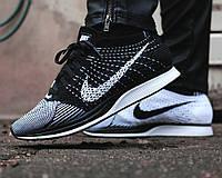 Кроссовки мужские Nike Flyknit Racer Black/White (Оригинал), кроссовки найк фри флайнит чёрно-белые