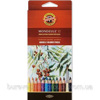 Художественные цветные акварельные карандаши Koh-I-Noor Mondeluz 12цв.