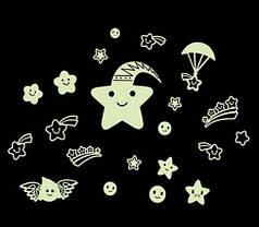 """Наклейка на стену, наклейка в детскую, наклейки на шкаф """"веселі зірки"""" светятся в темноте лист 21*29см"""