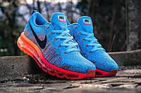 Кроссовки мужские Nike Air Max Flyknit 2015 Blue/Orange (Оригинал), кроссовки найк фри флайнит голубые