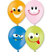 """Гелиевые шары латексные круглые с рисунком 1103-1212 шар с рисунком 14"""" улыбка 6цв"""