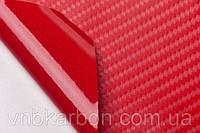 Карбоновая пленка 4D красная под лаком с микроканалами