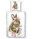 """Панельки из хлопковой ткани """"Серый зайчик с розовым бантом"""", 40*40 см, фото 2"""