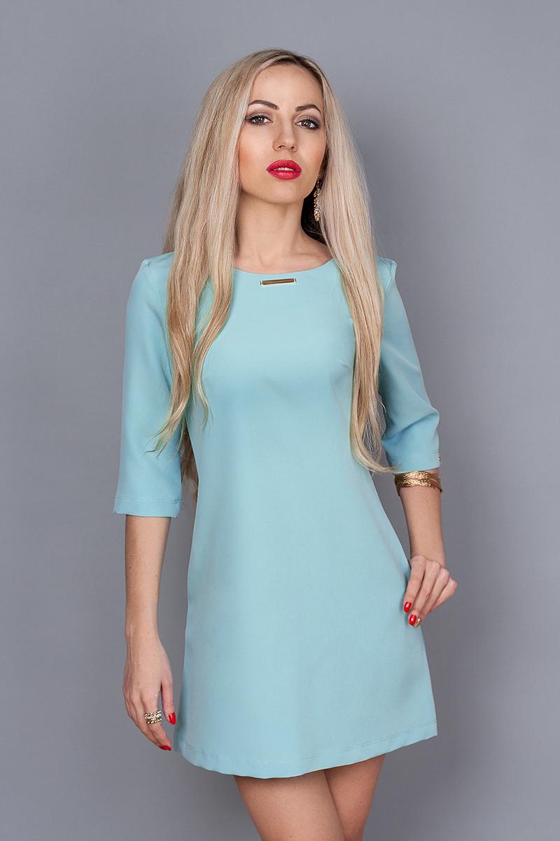 Платье мод. 237-5,размер  46,48 голубое