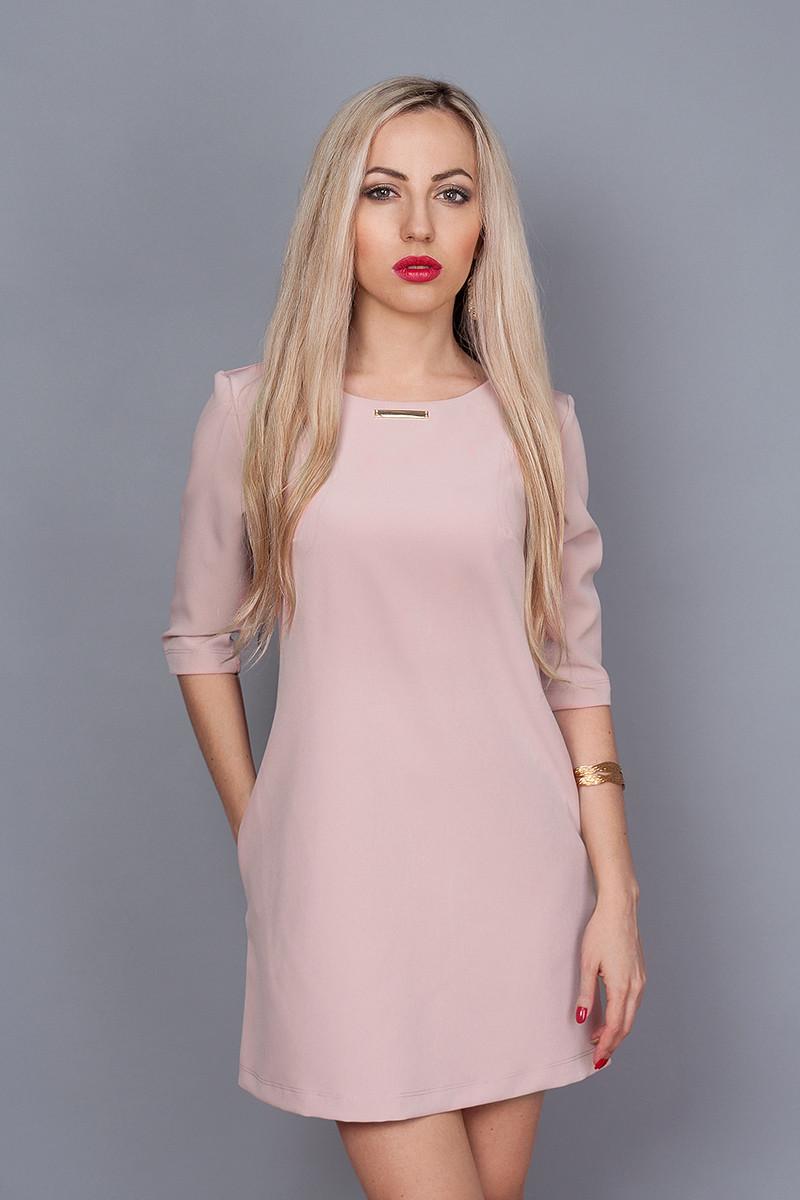 Платье мод. 237-19,размер 46,48 розовый кварц