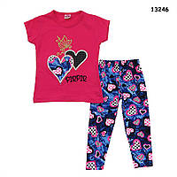 """Летний костюм """"Сердца"""" для девочки. 86, 98, 122 см, фото 1"""