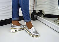Женские туфли на платформе цвет серебро, 40р.