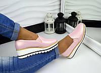 Женские туфли на платформе цвет розовый перламутр, 40р.