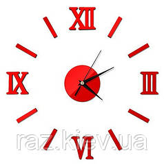 """Часы зеркальные """"римские часы"""" , часы: круг 8,5см наклейки с римскими цифрами 5см красный"""