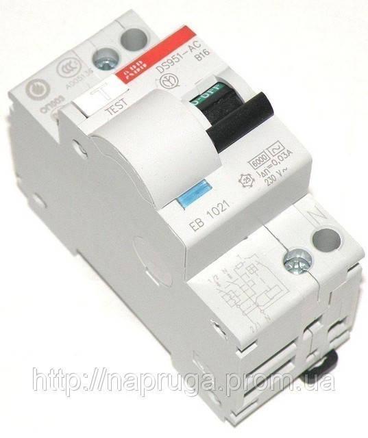 Диф.автомат ABB — Дифференциальный выключатель ABB DS 951 B16/0,03
