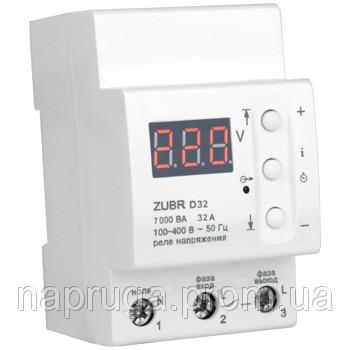 Реле контроля напряжения ZUBR D32 (Автомат напряжения) Защита от скачков напряжения ЗУБР