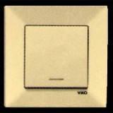 Выключатель 1 с подсветкой  Vi-ko Meridian (цвет: белый, крем)