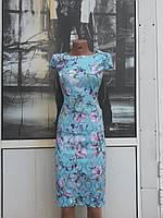Летнее приталенное классическое платье из натурального коттона жакард
