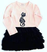 Нарядное платье с фатиновой юбкой для девочки, пудра - джинс, 104, 110, 116, BREEZE Турция