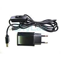 Блок живлення 5В 2А USB, USB-microUSB кабель з вимикачем, фото 1