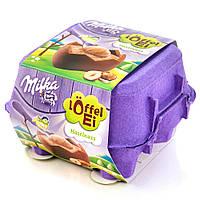 Шоколадные яички в лотке Milka «Löffel Ei Haselnuss» c ореховым мусcом, 144 г.