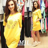 Платье двунитка со стразами 196 желтое