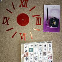 """Часы зеркальные """"римские часы"""" , часы: круг 8,5см наклейки с римскими цифрами 5см красный, фото 2"""