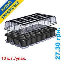 Парник для выращивания рассады на 33 ячейки 278*425 мм. Кассета для рассады 52*52*65 мм