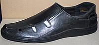 Летние мужские туфли черные кожаные, кожаная обувь мужская от производителя модель АМТ01ЧЛ