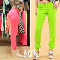 Яркие спортивные штаны двунитка Луиджи ярко-зеленые