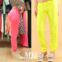 Яркие спортивные штаны двунитка Луиджи лимонные