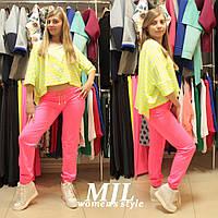 Яркие спортивные штаны двунитка Луиджи ярко-розовые