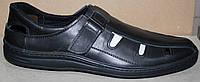 Мужские летние туфли черные кожаные на липучке, кожаная обувь мужская от производителя модель АМТ02ЧЛ