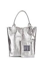 Кожаная сумка Poolparty Podium серебряная