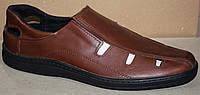 Летние мужские туфли коричневые кожаные, кожаная обувь мужская от производителя модель АМТ10КЛ