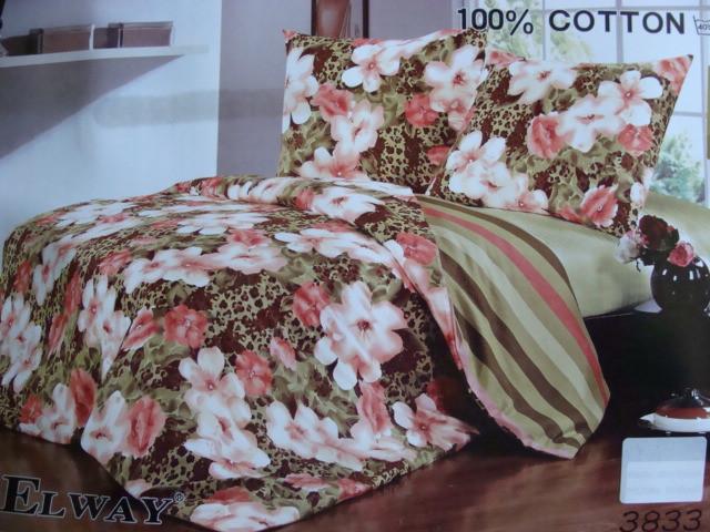 Сатиновое постельное белье семейное ELWAY 3833