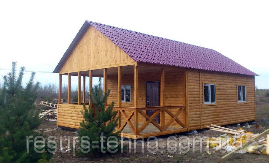 Изготовление дачных домиков 7м х 6м из блокхауса с террассой