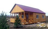 Изготовление дачных домиков 7м х 6м из блокхауса с террассой, фото 1