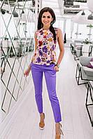 """Летний женский брючный костюм """"Джоли"""" с блузой в цветочек (4 цвета)"""