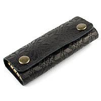 Ключница на кнопках кожаная F1-01 (черная с тиснением), фото 1