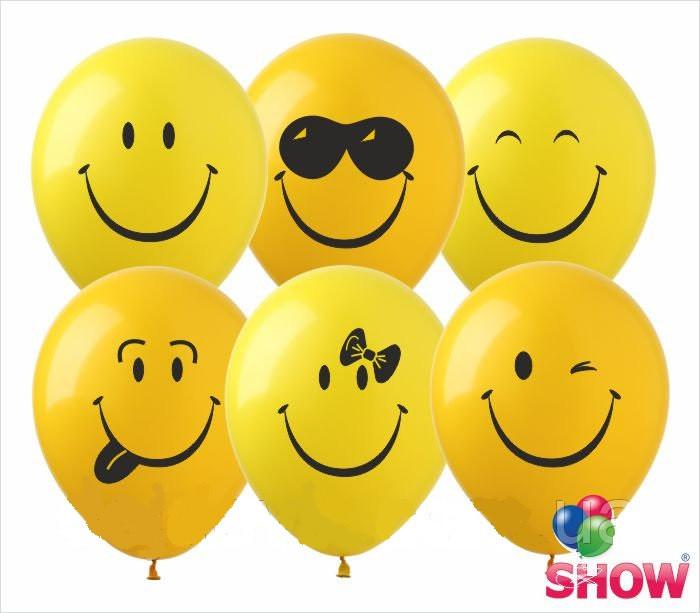 """Воздушные латексные шарики Улыбки Смайлики желтые 12"""" 30 см ТМ Show"""