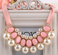 Ожерелье Привлекательность розовое/бижутерия/цвет ленты розовый/цвет искусственных камней белый и розовый
