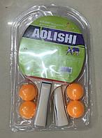 Теннис настольный T1710 50шт 2 ракетки  4 мячика, 6 мм,в слюде 2515см