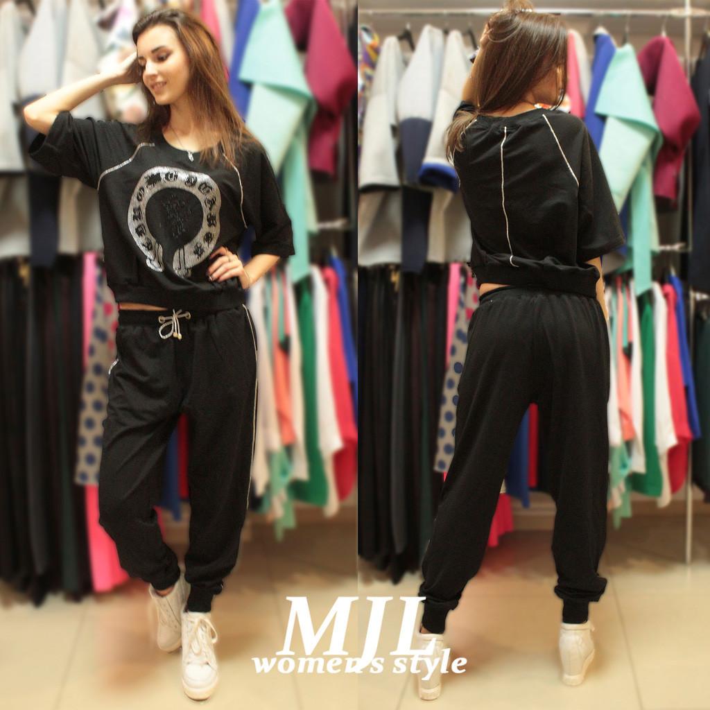 3de5dc9aedf Модный спортивный костюм Калифорния черный - DS Moda - женская одежда оптом  от производителя в Харькове