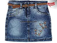 Модная джинсовая юбка для девочки 6-7 лет 211107