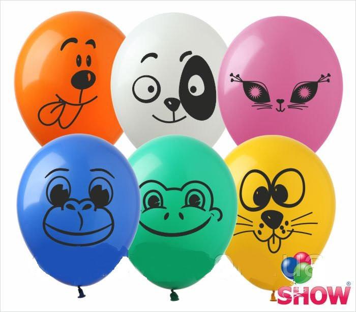 """Воздушные латексные шарики Животные Зверушки Мордочки ассорти 12"""" 30 см ТМ Show"""