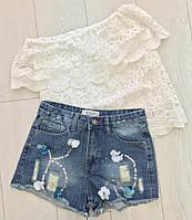 Женские джинсовые шорты с пайетками