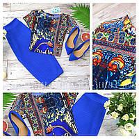 Женский костюм с юбкой карандашом и топом (марсала, синий)
