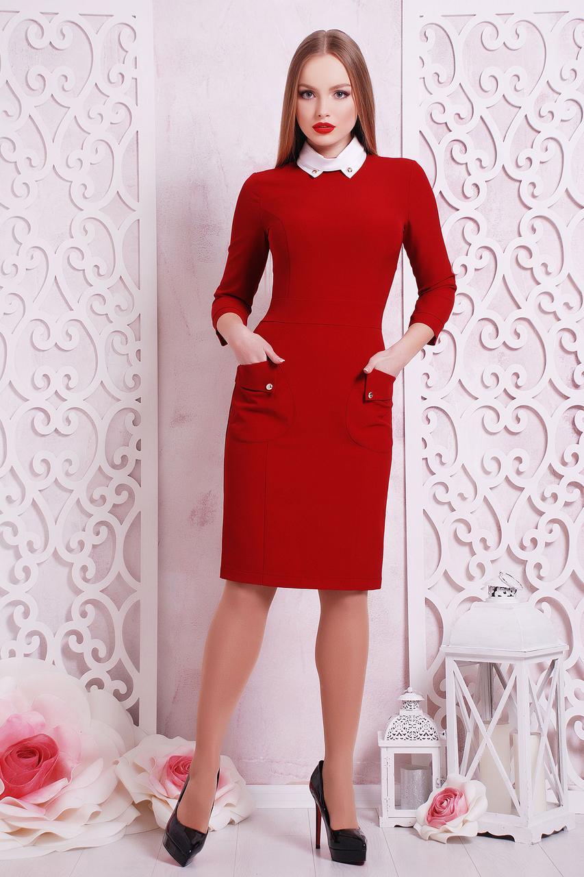 Офисное женское платье с воротничком