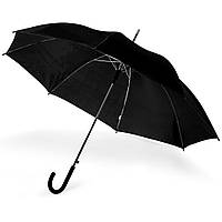 Зонт-трость 170Т полуавтомат, ручка , черный, от 10 шт.