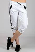 Женские трикотажные бриджи с лампасами белый+черный